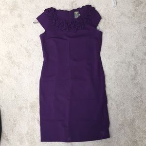 Purple fitted cap sleeve dress